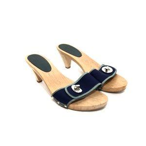 Coach Navy & Green Canvas/Wood Slide Heels